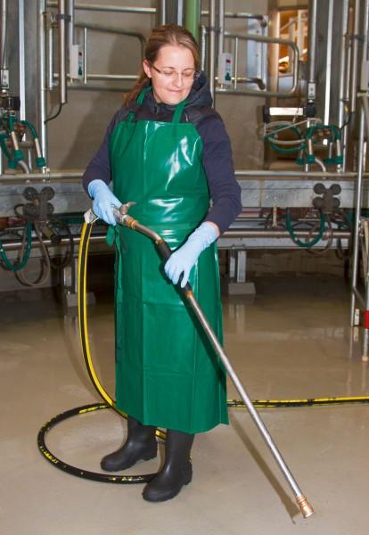 Melk- und Waschschürze in grün, äußerst reiß- und knickfest