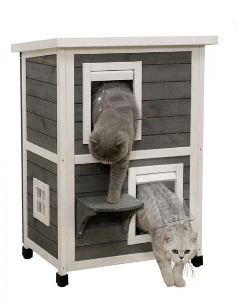 Katzenhaus Family mit 2 getrennten Etagen und Trittbrett, 57 x 55 x 80 cm