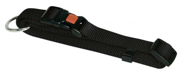Halsband Miami aus Nylongewebe mit robusten Beschlägen in der Farbe schwarz, in 4 Größen erhältlich