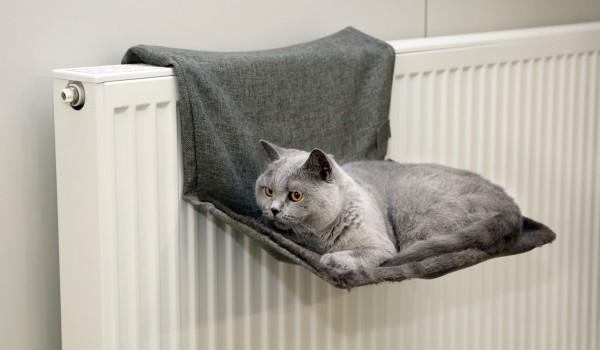 Katzenhängematte für den Heizkörper, grau