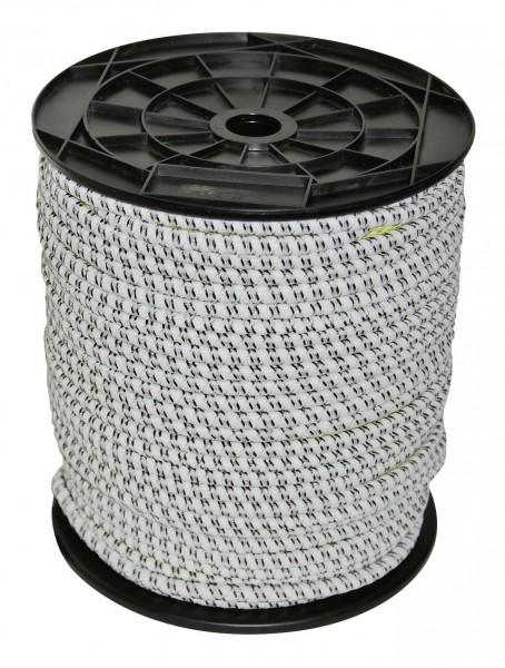 Gummi Elektroseil, Weidezaunseil aus Gummi in der Farbe weiß/ schwarz für Eco Torsysteme und kleine Einzäunungen