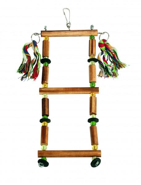 Vogelleiter aus Holz, Baumwolle und Kunststoff mit kleinem Karabiner, 3 Stück