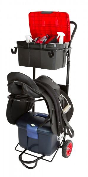 Sattelcaddy, stabiler Sattelbutler mit zwei Haken für Sattel-, Zaumzeug- und Putzboxhalterung