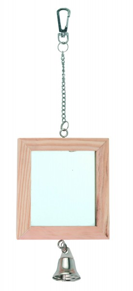 Doppelspiegel mit Echtholzrahmen und kleiner Glocke, 3 Stück