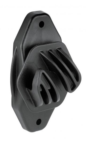 Seilisolator Euro Cord, sehr robuster Isolator, Farbe schwarz, zum Anschrauben oder Nageln am Holzpfahl