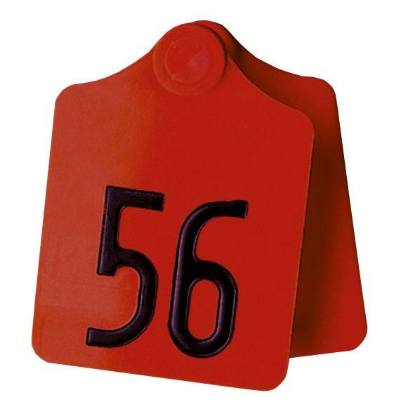 PrimaFlex Ohrmarken Größe 2 blanko Farbe rot, Abb. Ohrmarke mit Prägung