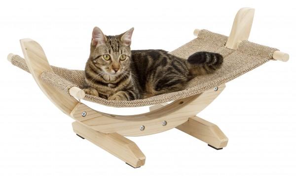 Hängematte Siesta 2.0 für Katzen und kleine Hunde, mit Natur-Holzgestell und Leinen
