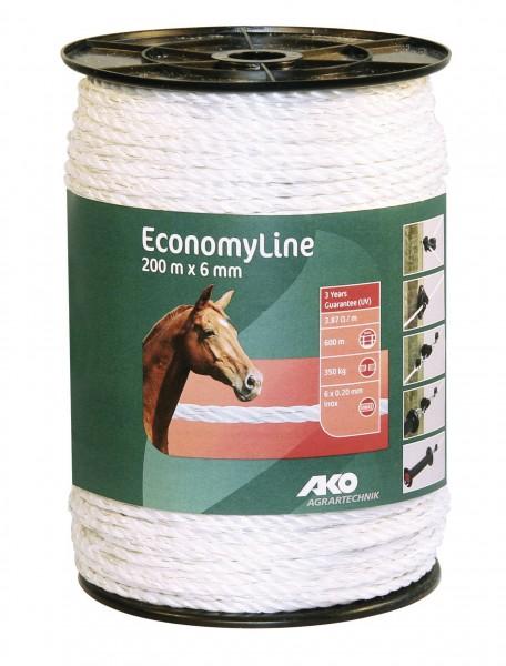 EconomyLine Weidezaunseil für kurze Zaunanlagen, Standardweidezaunseil mit Niroleiter, Bruchlast 350 kg