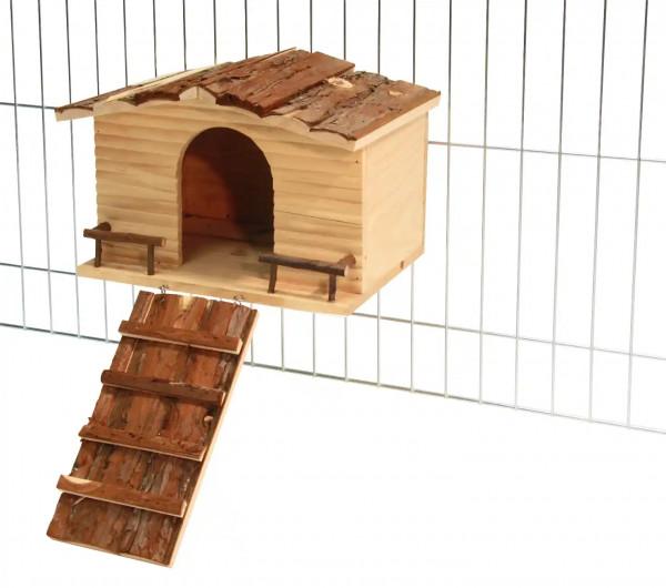 Nagerhaus Nature mit Gitterbefestigung aus 100% Naturholz, Dach mit hübscher Rindenverkleidung, mit Rampe zum besseren