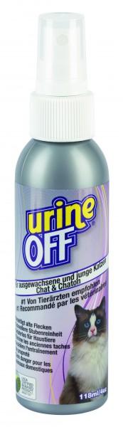 UrineOff Spray Katze, unparfümierter Geruchs- und Fleckenentferner, 118 ml