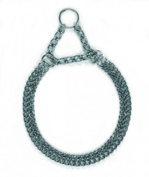 Doppelhalskette in einer extrem starken Ausführung, verchromt mit geschweißten Ringen