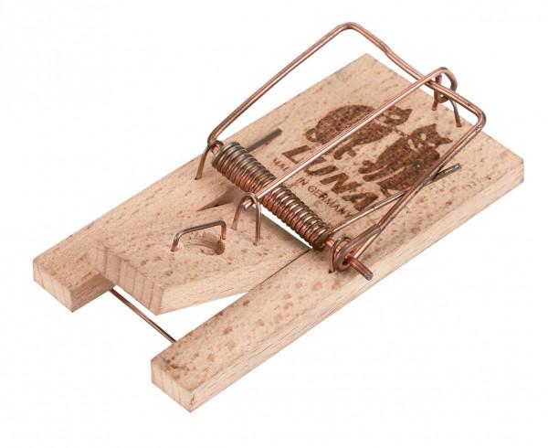 Mausefalle LLUNA, Holzfalle mit Federspanner und Trittauslöser