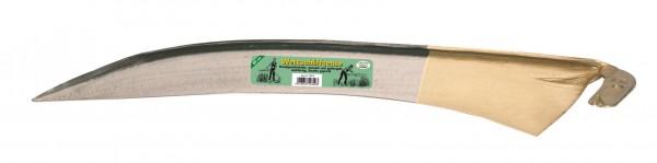 Sensenblatt der Marke Wettschliff, 60 cm lang, handgeschmiedet und gehärtet, mit Schneidenschutz