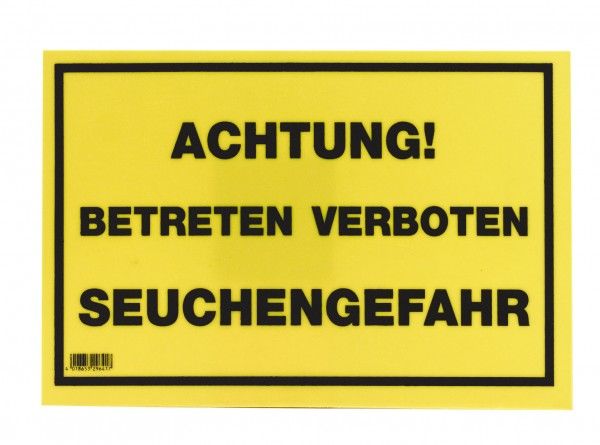 Warnschild aus Kunststoff, Achtung! Betreten verboten Seuchengefahr