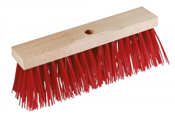 Straßenbesen mit extra kräftigen, roten Kunstborsten aus Elastan