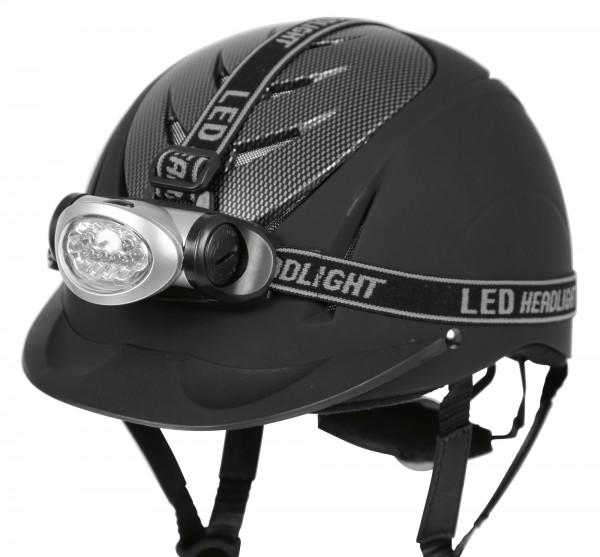 Stirnlampe, lässt sich einfach mit den Elastikbändern am Helm anbringen