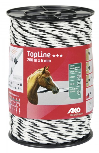 TopLine Weidezaunseil in der Farbe weiß/ schwarz 200 m x 6 mm, Bruchlast 350 kg