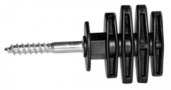 Wickelisolator Allgäu, Isolator aus schwarzem Kunststoff, uv-stabil, mit 6 mm langer, verzinkter Stütze und Holzgewinde
