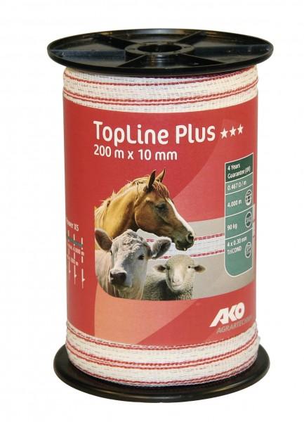 weiß/ rotes Weidezaunband von AKO, TopLine Plus, 200 m lang, 10 mm breit, sehr UV-stabil