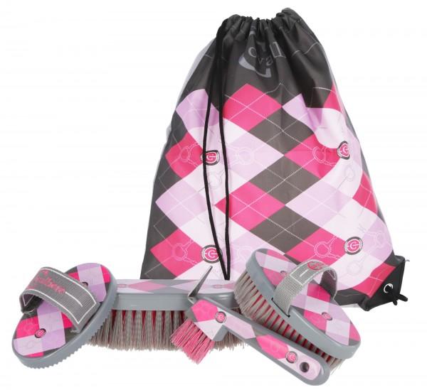 Putzbeutel Lilli, attraktiver Sportbeutel in pink/rosa, befüllt mit Fellreinigungs- und Putzutensilien