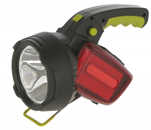 LED Akku-Handscheinwerfer mit Hauptlicht und seitlichen Leuchten, seitliche Leuchte in rot
