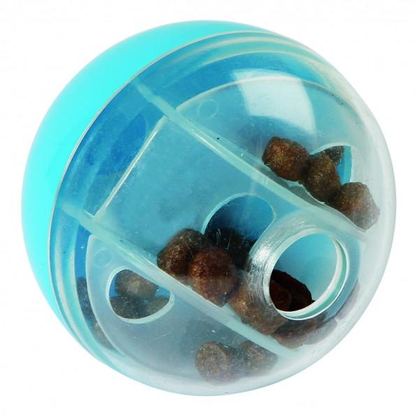 Snackball für Katzen aus transparentem Kunststoff, zum Befüllen mit Leckereien