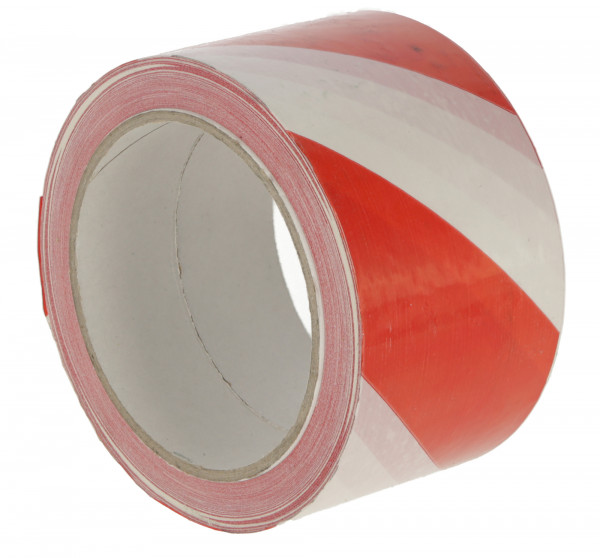 Warnband in 2 Signalfarbvarianten, rot/weiß, 66 m lang, selbstklebend