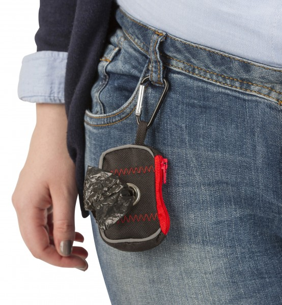 Tasche aus Nylon für Kotbeutel, immer griffbereit, am Gürtel zu befestigen, inklusive 20 Beuteln