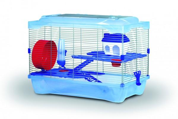 Käfig für kleine Nager, inklusive 2 Etagen, Leiter, 2 Näpfen, Hamsterrad und Tränke