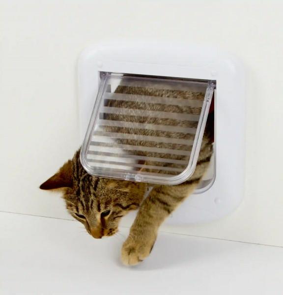 Katzenklappe mit Multifunktion, mit 4-Wege-Verschluss, einfache Bedienung durch Drehknop