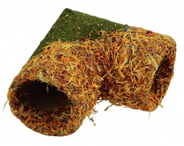 Tunnel aus getrockneten Getreide und Blütenblättern