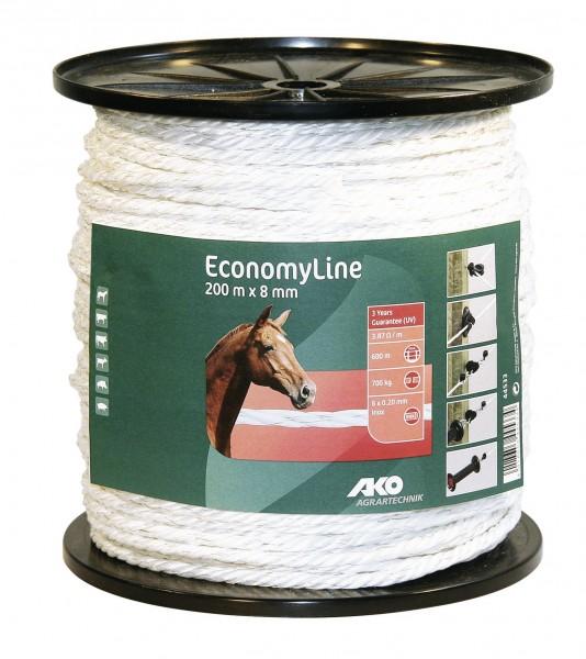 EconomyLine Weidezaunband 200 m x 8 mm, Weidezaunseil von AKO in der Farbe weiß für kurze Zaunanlagen