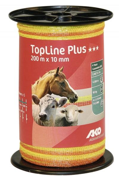 TopLine Plus Weidezaunband mit TriCOND-Leiter und starke Monofilfäden, Weidezaunlitze in der Farbe gelb/ orange
