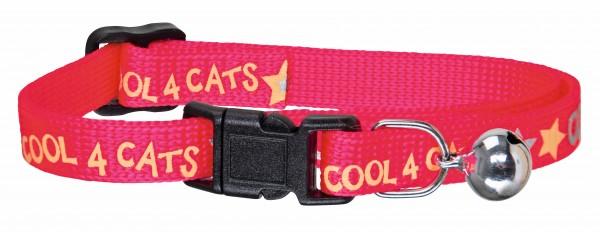 Katzenhalsband in pink aus Nylon, mit kleinem Glöckchen, Sicherheitsverschluss und reflektierendem Druck