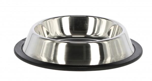Edelstahlnapf, hygienisch und leicht zu reinigen, rutschfest mit Gummirand, in 6 Größen erhältlich