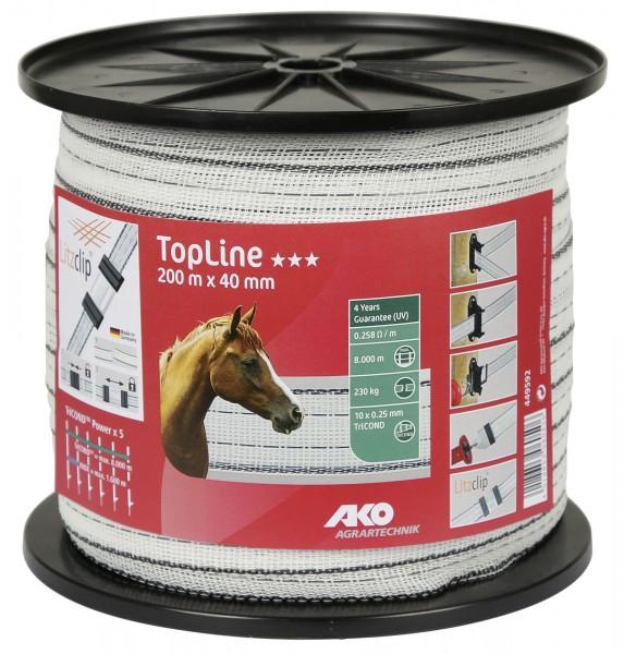 TopLine Weidezaunband 40 mm breit, in der Farbe weiß/ schwarz, 200 Meter für max. 8.000 m Zaunlänge