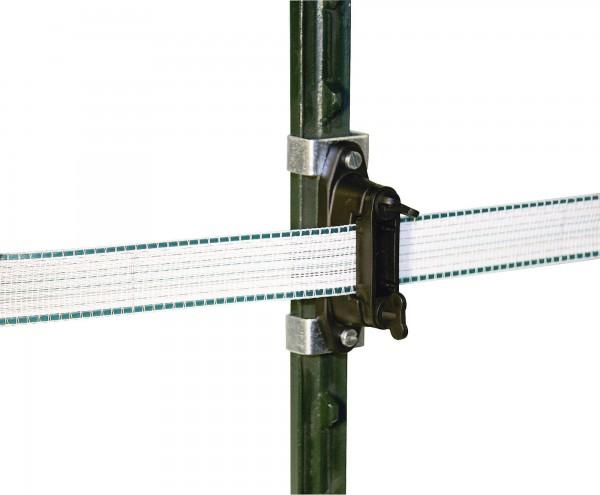 Band- und Eckisolator mit Universalklammer für T-Post-Pfähle geeignet für Weidezaunband und -Seile