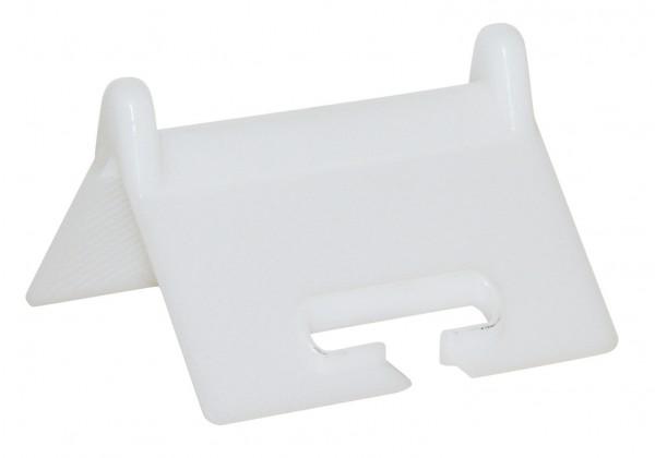 Kantenschutzwinkel in verstärkter Ausführung aus Kunststoff, mit Schlitz zum leichteren Einfädeln