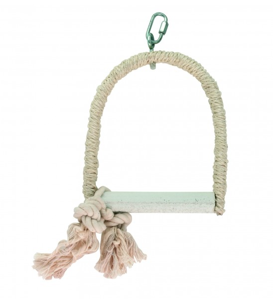 Sisalschaukel mit Kalksitz für die Schnabelpflege, 18 x 14 x 2 cm