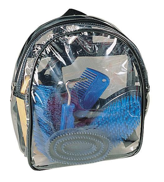 Putz-Rucksack in blau für Kinder mit Inhalt, alles übersichtlich verpackt im Klarsichtrucksack