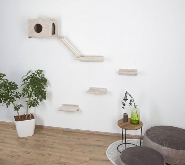 6-teilige Kletterwand Montblanc für Katzen, Katzenmöbel zum Befestigen an der Wand