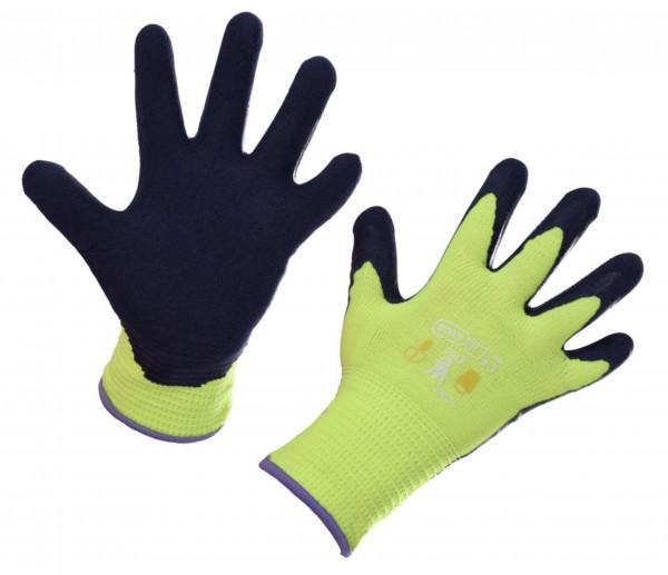 Kinderhandschuhe Kids mit Naturlatexbeschichtung, Farbe lemongelb, speziell für kleine Kinderhände