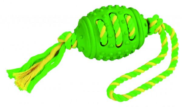 Football am Seil aus Vollgummi und Baumwolle, zahnfreundlich
