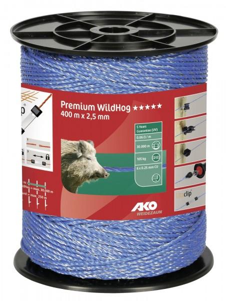 Premium WildHog Weidezaunlitze in der Farbe blau, Litze für lange Zäune und zur Wildabwehr