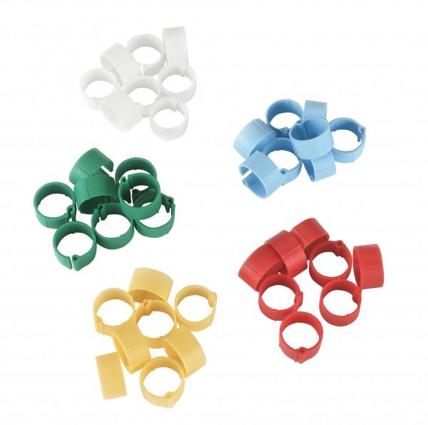 Kunststoffclip in rot, grün, blau, weiß und gelb, 100 Stück in einer Packung, Ringe zur Kennzeichnung von Geflügel