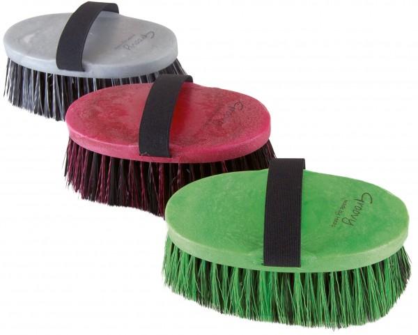 Pferdekardätsche mit weichen, langen Nylonborsten; sehr effektiv für die sanfte Fellpflege