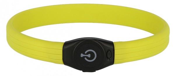 LED-Halsband, zwischen 2 Blinkstufen oder Dauerlicht wählbar, aufladbarer Akku über USB-Kabel
