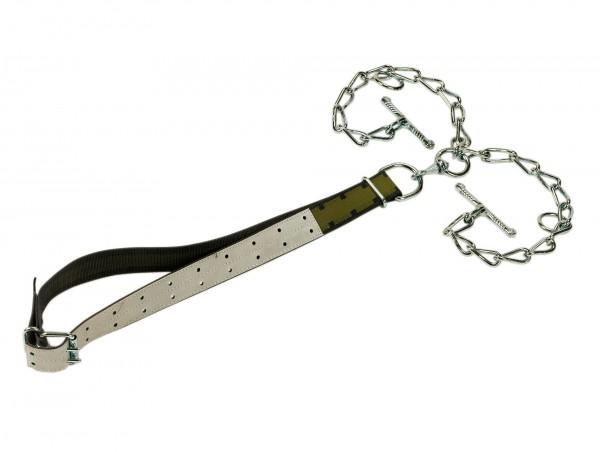 Jungbullenanbindung mit Halsband, stärkste Zugbelastung, Kettenteil doppelt mit Wirbel