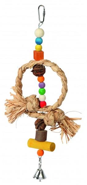 Vogelspielzeug Nature aus Bast, Nussbaumholz, Kiefernholz, Walnuss und 1 Glocke