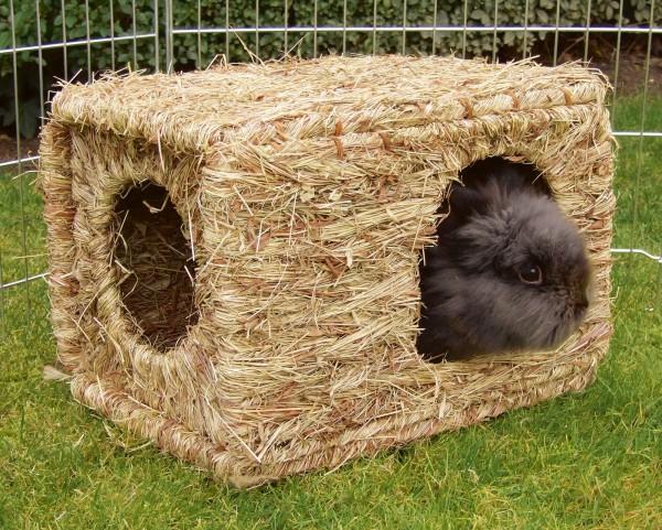 Grashaus XL, Knabberhaus für Nagetiere, Grashöhle als Schutz vor Wind, Sonne und gesundes Zusatzfutter